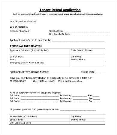 free tenant rental application template