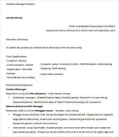 Hostess Manager Resume
