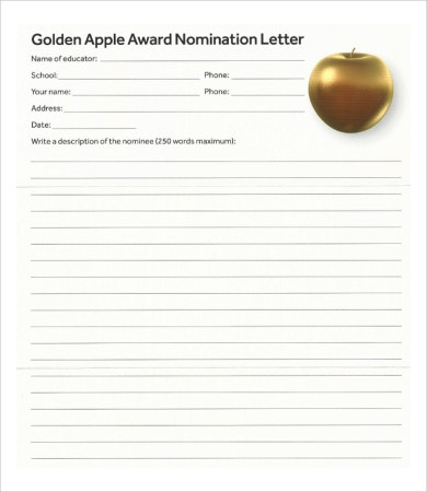 award nomination letter template
