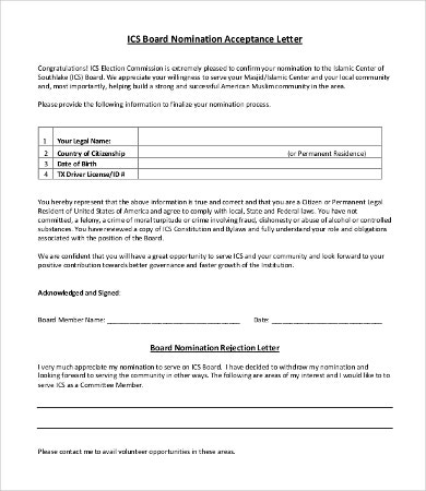 nomination letters 8 free word pdf documents download free