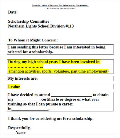 Nomination letters 8 free word pdf documents download for Scholarship guidelines template