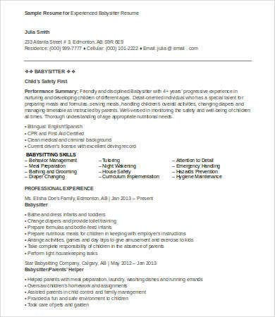 best babysitter resume templates