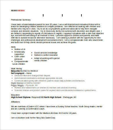 Babysitter Resume   Free Word Pdf Documents Download  Free