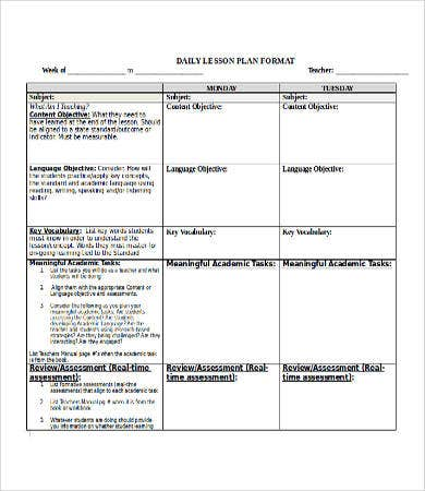Lesson plan template doc 9 free word documents for Daily lesson plan template word document