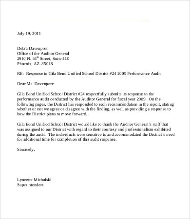 Audit Response Letter Template