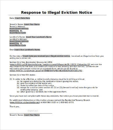 Eviction Response Letter Template