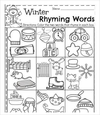 Printable Preschool Worksheet on Rhyming Word