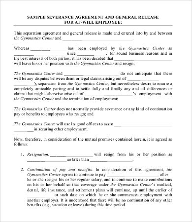 Severance Agreement Template 10 Free Word Pdf Documents