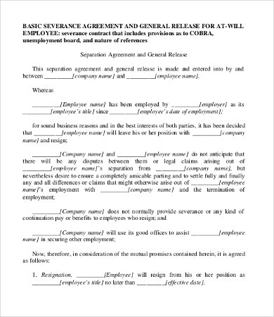 Severance Agreement Templates - 8+Free Word, Pdf Documents