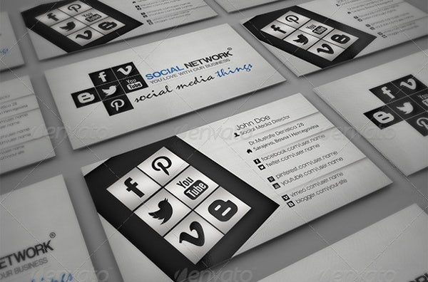 Professional Social Media Business Card Design