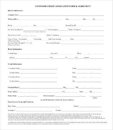 business customer credit application form