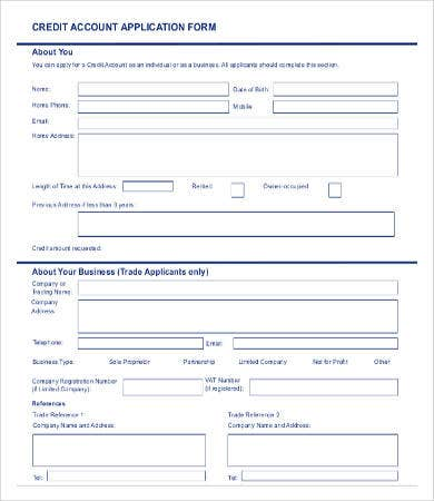 Business Credit Account Application Form
