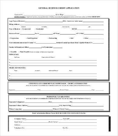 General Business Credit Application Form