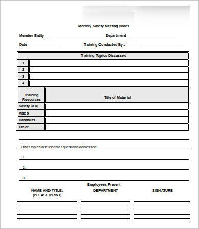 safety meeting notes template1