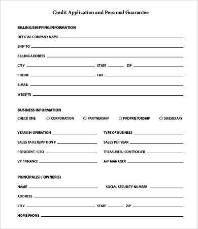 Business Credit Application Form   Free Word Pdf Documents