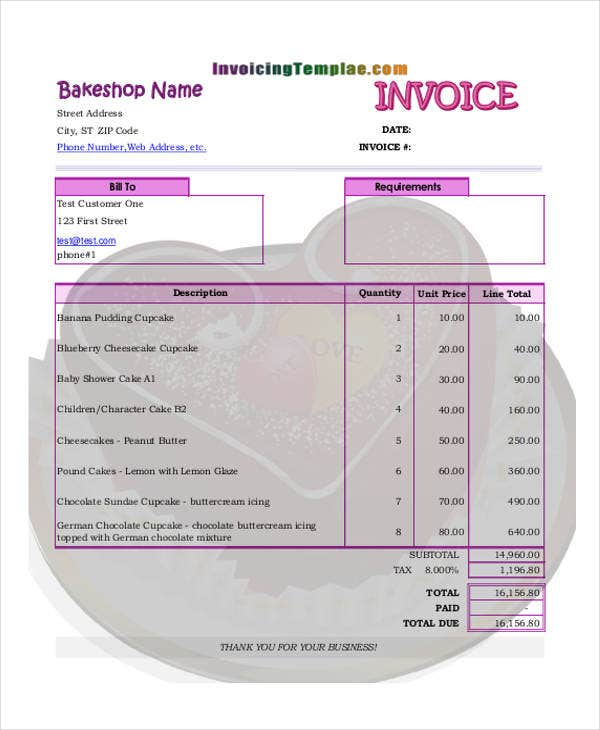 bakery cake invoice template