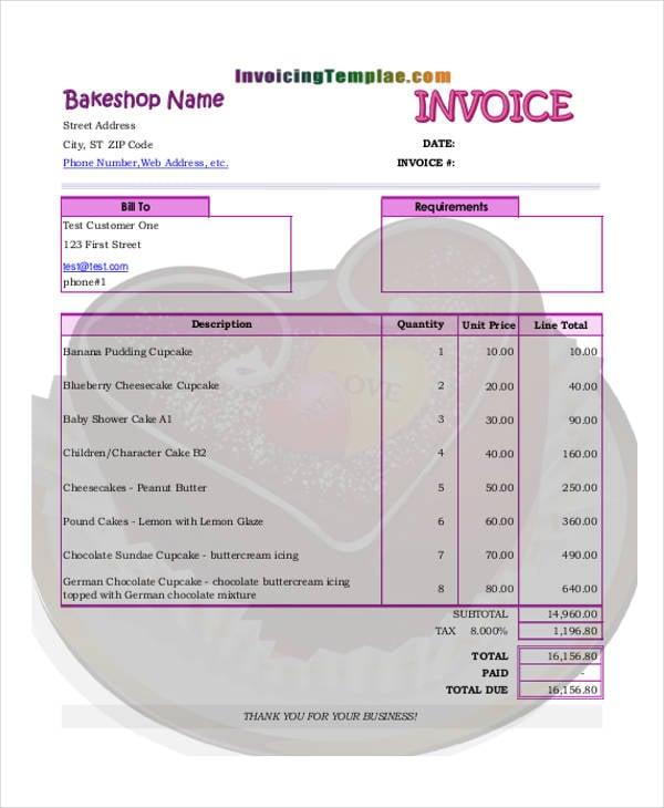 bakery invoice templates