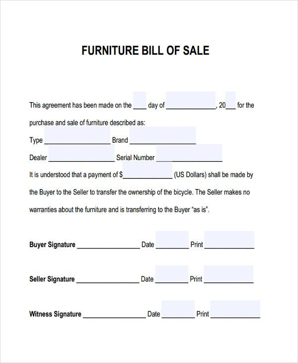 Furniture Bill Of Sale | Free & Premium Templates