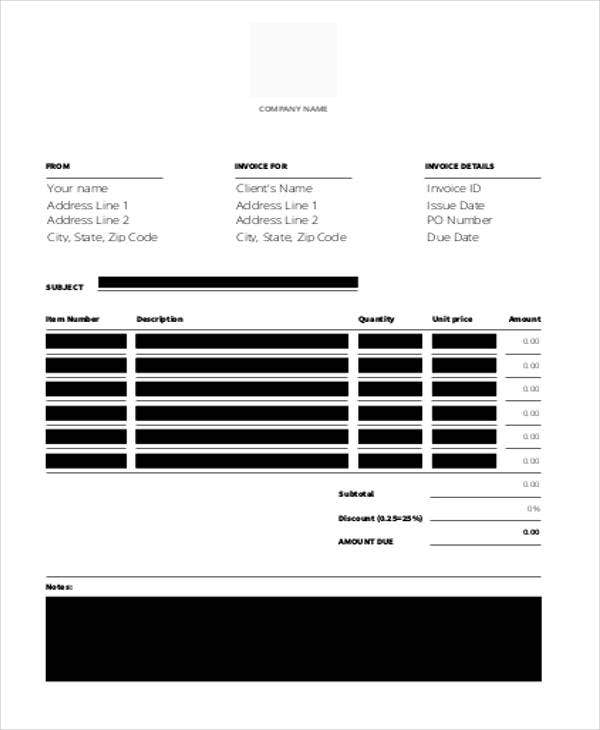 blank bakery invoice template