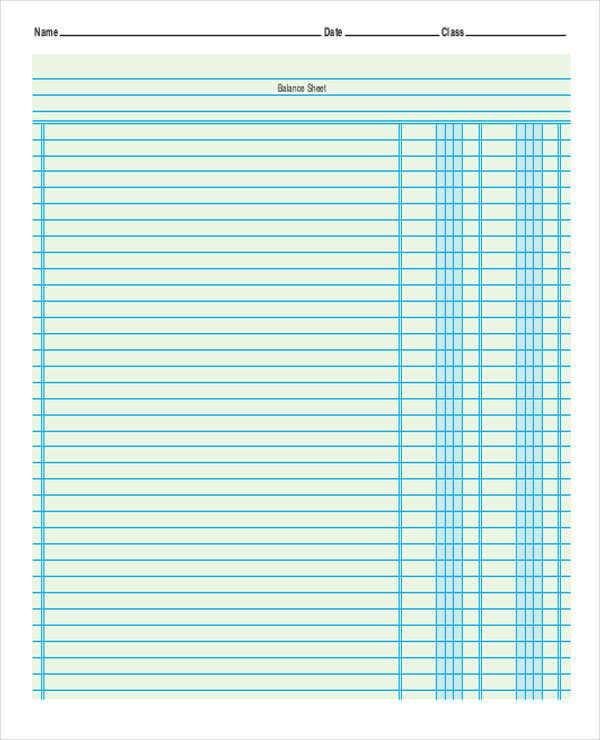 free printable accounting sheets