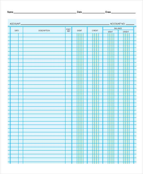 Printable Accounting Ledger Sheets