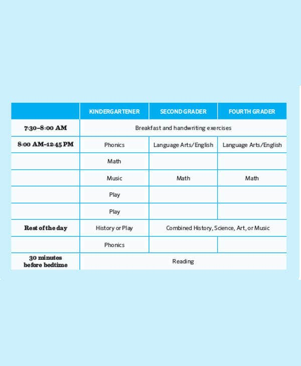 daily homeschool schedule template