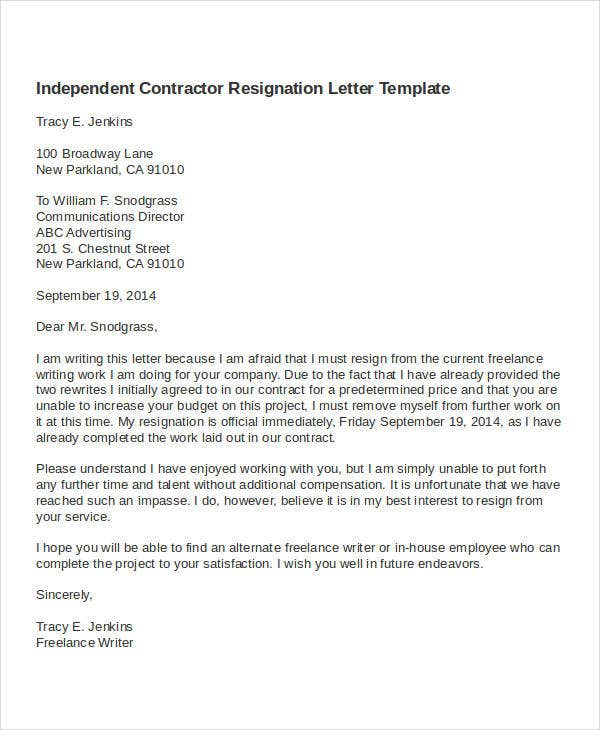 Contractor Resignation Letter Template   Free Word Pdf Format