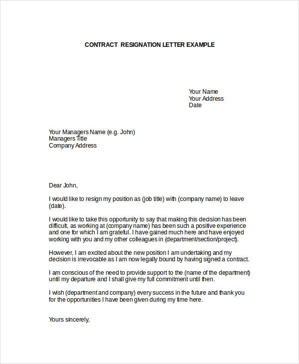 Contractor resignation letter template 4 free word pdf format contractor resignation letter template spiritdancerdesigns Image collections