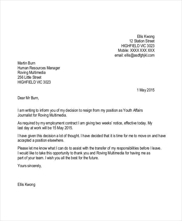 Resignation Letter Contractor Job Template