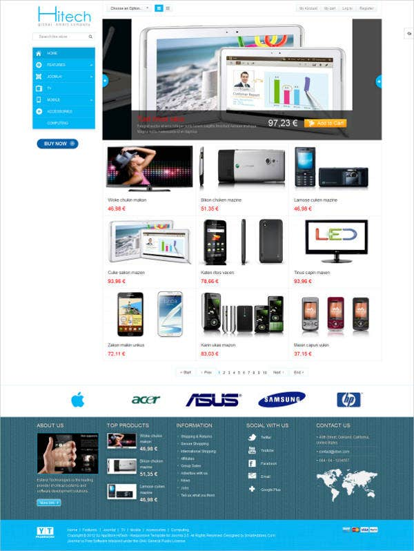free joomla e commerce template