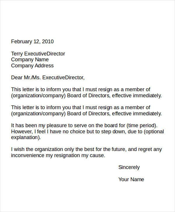 Resignation Letter From A Volunteer Board