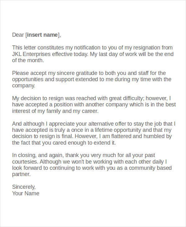 letter of volunteer resignation template