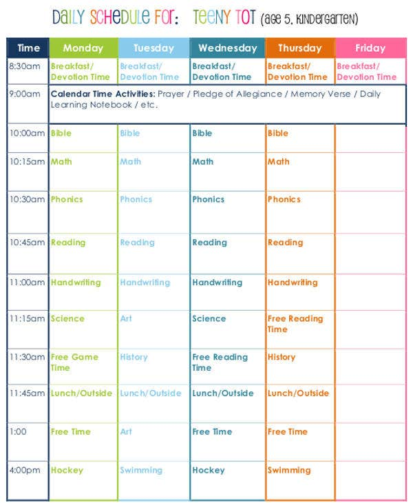 7 homeschool schedule templates free premium templates for Kindergarten timetable template