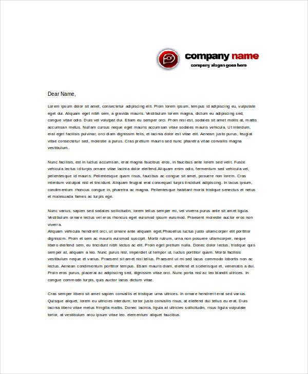 free sample letterhead template