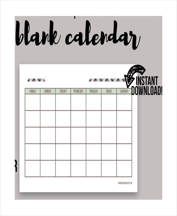 printable blank daily calendar template