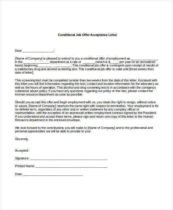Employment Acceptance Letter Formal Job Offer Acceptance