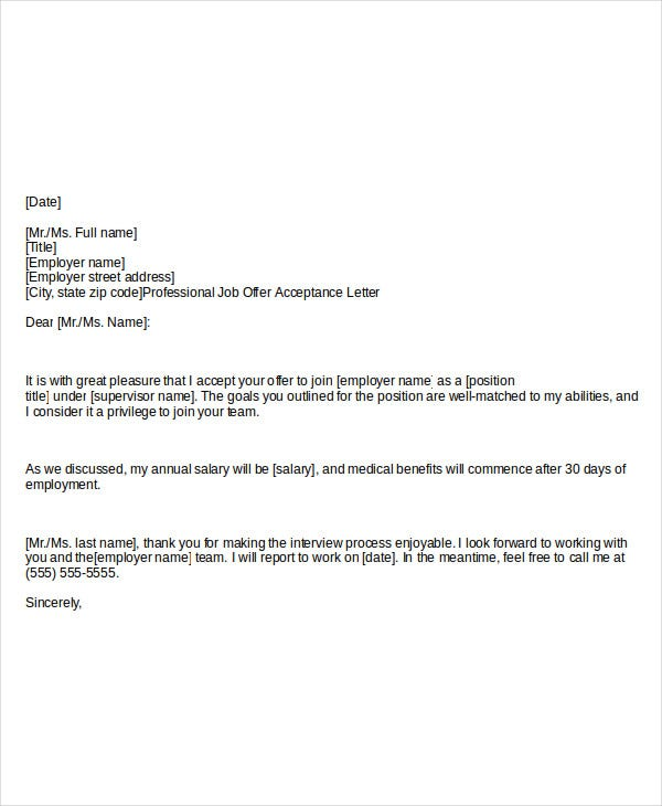 Job Acceptance Thank You Letter Accepting The Job Offer Sample