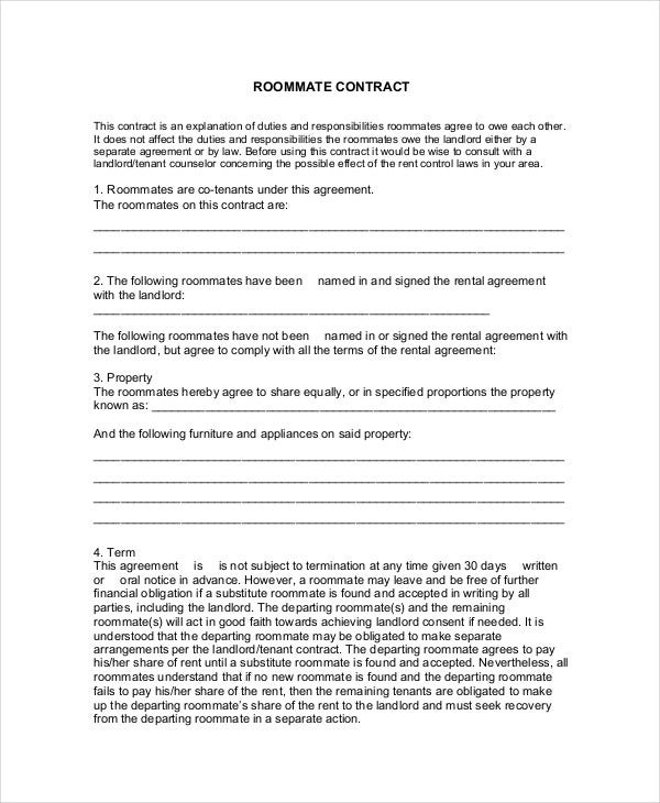 Roommate Contract Template   Free  Premium Templates