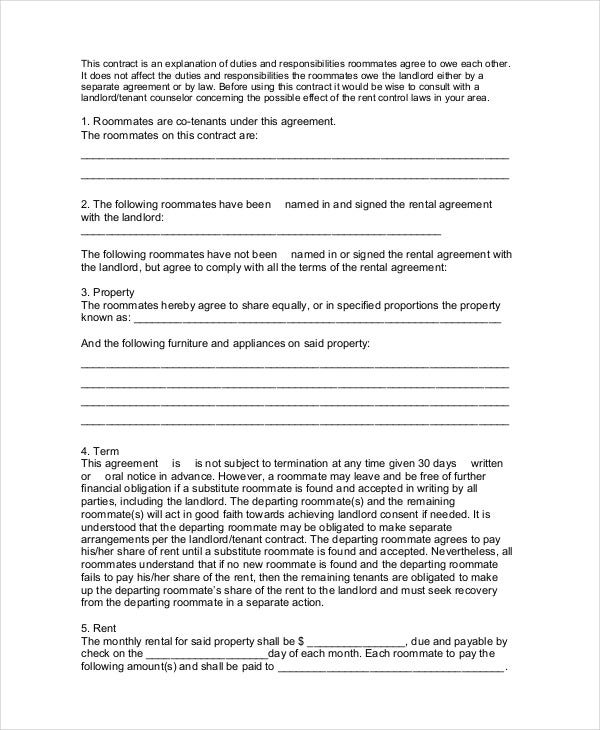 Roommate Contract Template – Roommate Lease Agreement