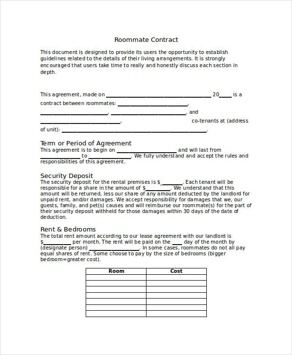 Roommate contract template free premium templates for Roommate agreement template free