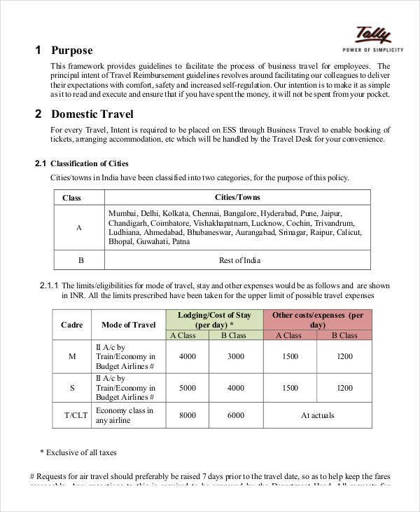 company travel policy template business policy template 9 free pdf documents download