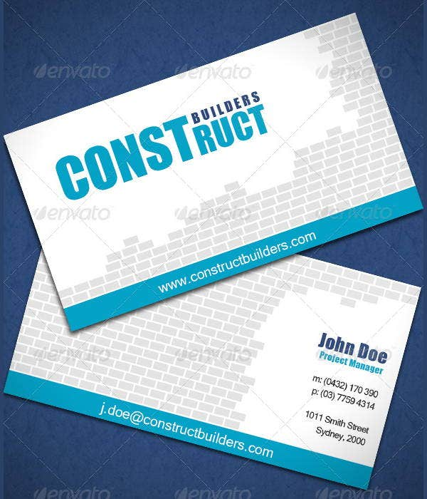 Construction Business Cards  Printable Psd Eps Format