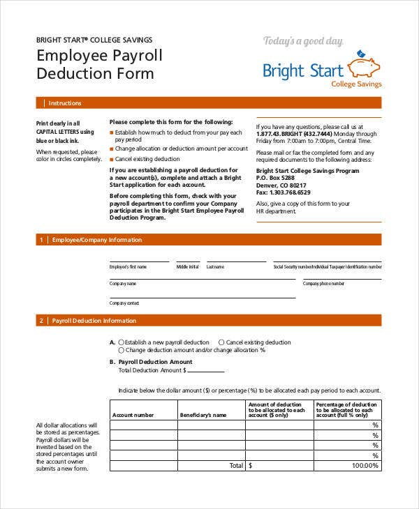Payroll Deduction Form Template 10 Free Sample Example Format