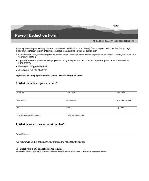 free payroll deduction form template