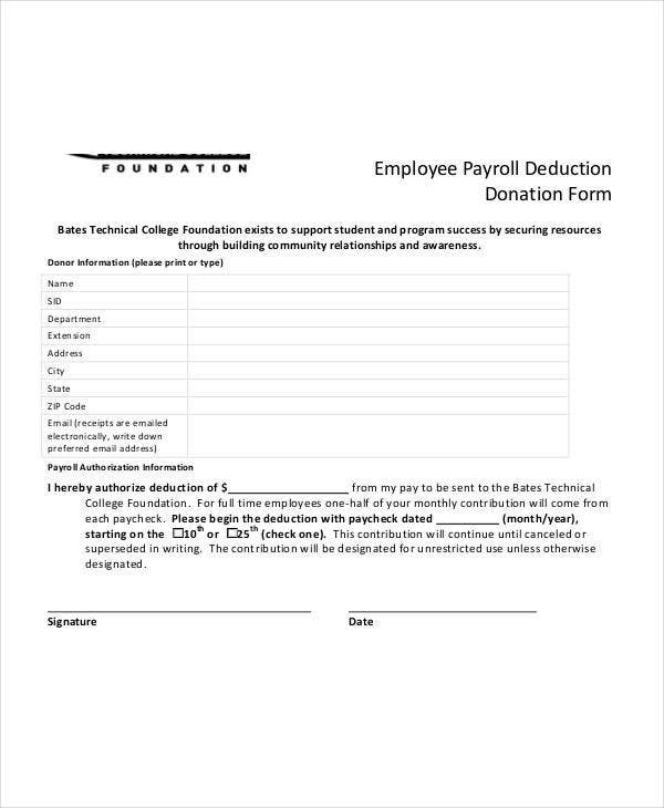 payroll deduction donation form