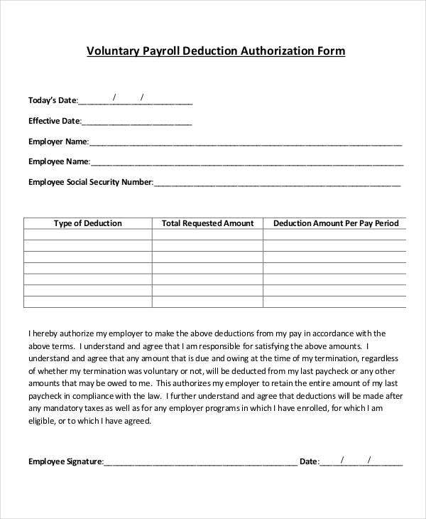 Payroll Deduction Form Template 9 Free Sample Example Format – Sample Employment Authorization Form