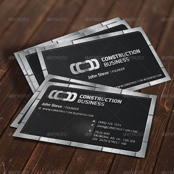 7 construction business cards printable psd eps format metal construction business card reheart Image collections
