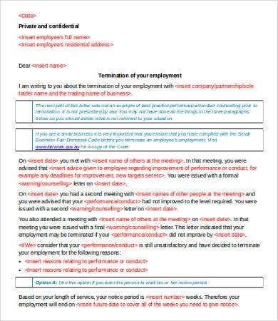 Termination Letter of Employment Template