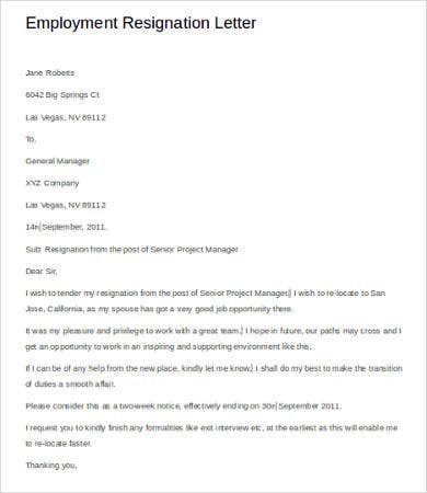 Resignation Letter Of Employment Template