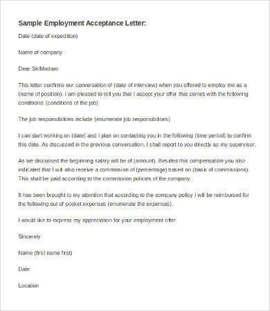 Letter Of Employment Acceptance Template